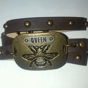 Jewelry - Dark Brown Leather Studded Wrap Queen Bee Bracelet